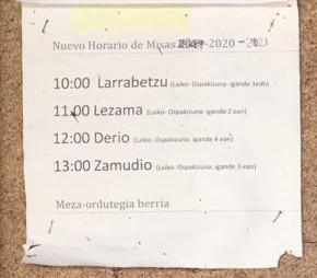 HORARIO MISAS